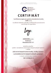 certifikát ISO 18788