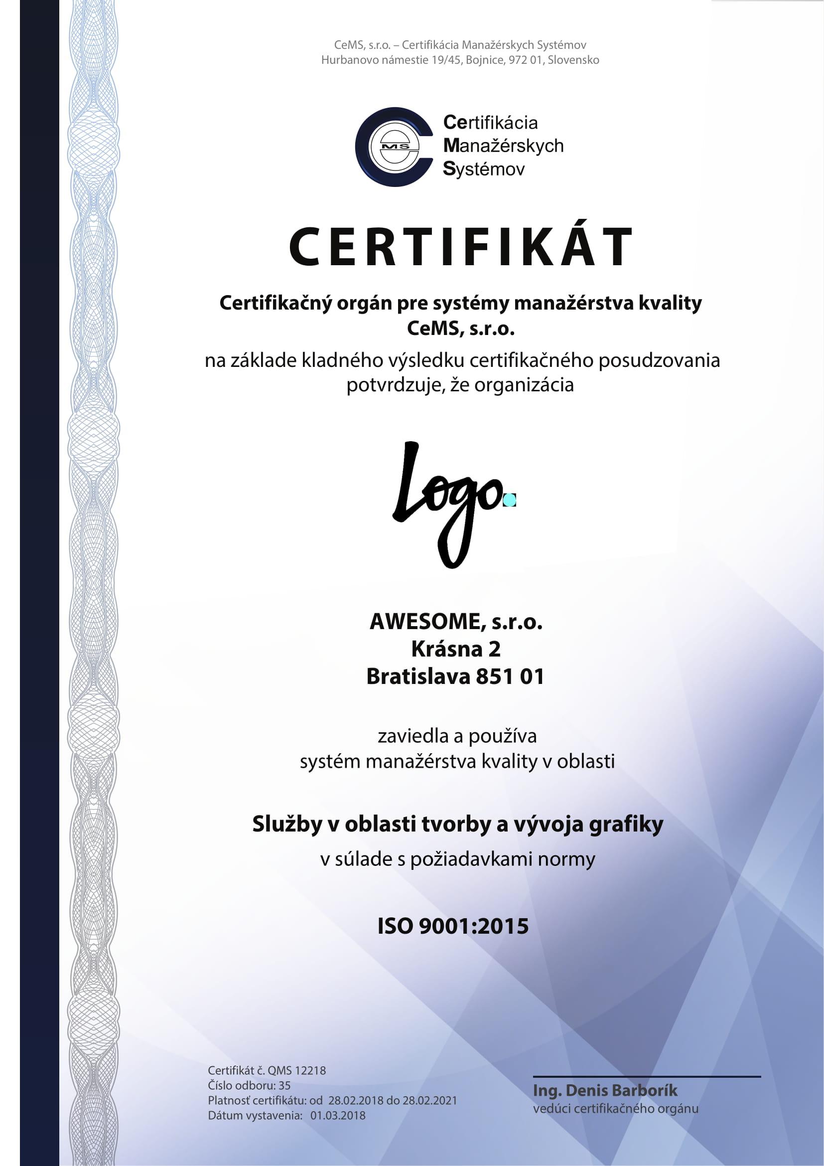 vzor certifikátu ISO 9001 od CeMS