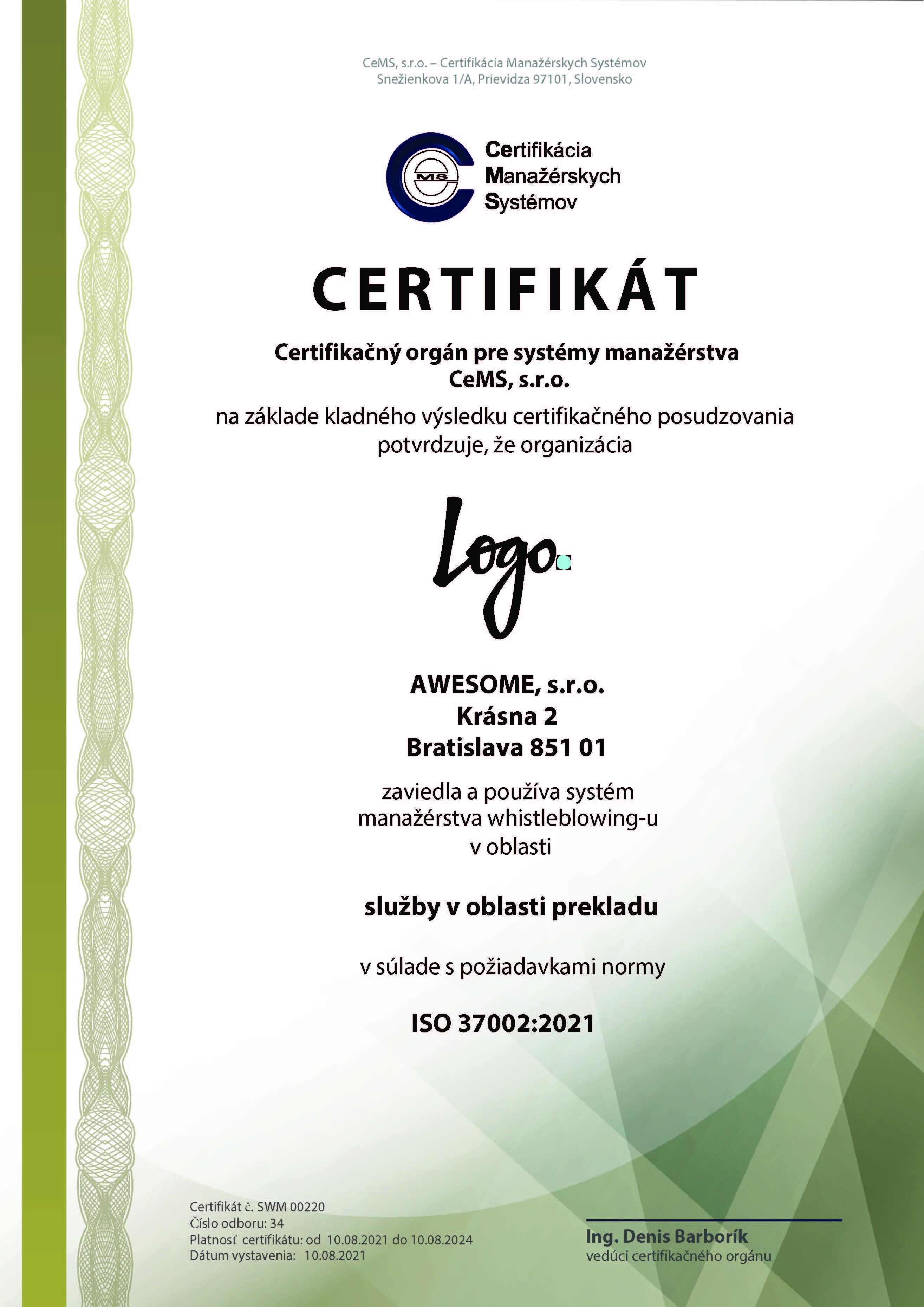 vzor certifikátu ISO 37002 od CeMS